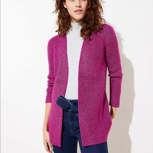 Loft berry heather regular open cardigan medium